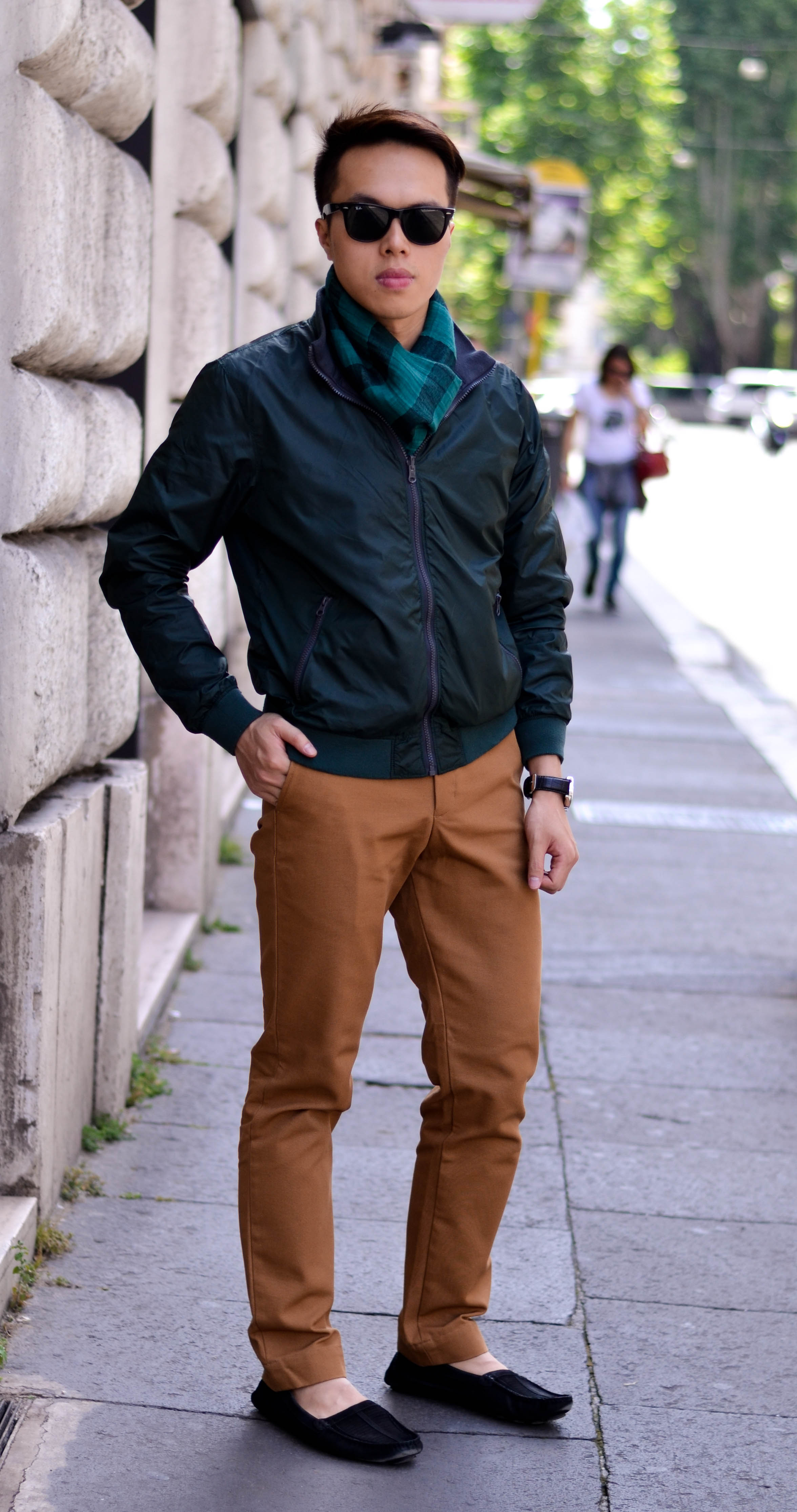 american apparel work pant, fendi suede loafer, rome, kenneth cole jacket