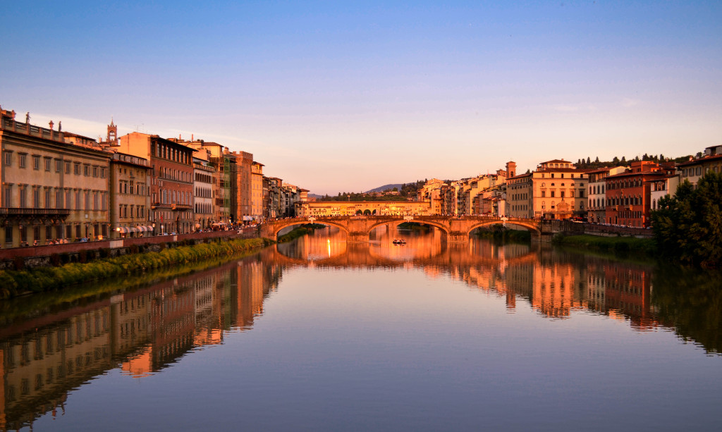 ponte santa trinita at sunset, ponte vecchio at sunset