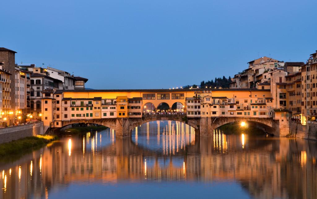 ponte vecchio at sunset, beautiful florence