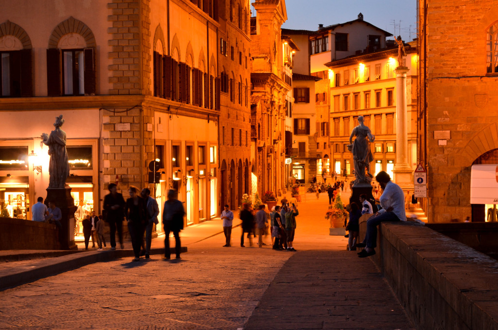 ponte vecchio at sunset, beautiful florence at night