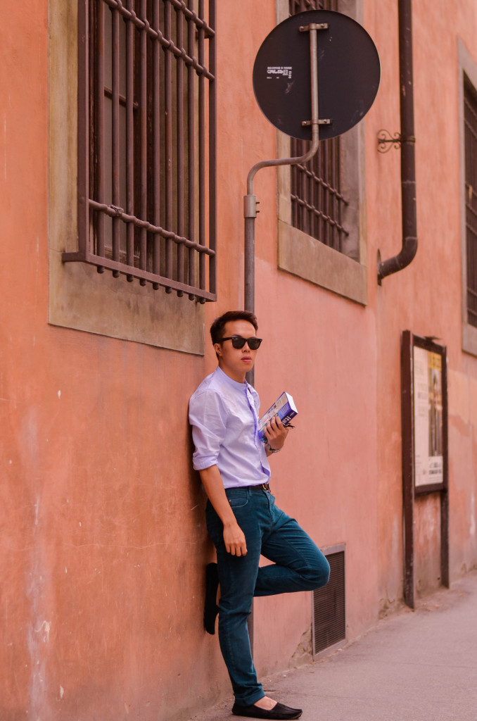 florence, italy, closed hamburg, teal trousers for men, allsaints granddad collar shirts, fendi loafers, italy, ONA bowery bag, italy
