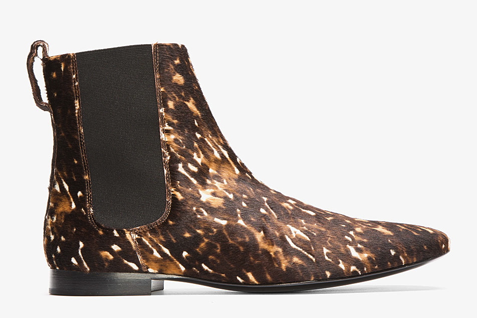 BURBERRY PRORSUM BROWN SPOTTED CALF-HAIR CHELSEA BOOTS
