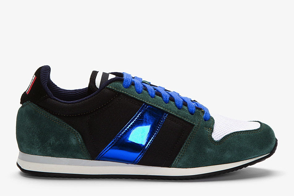 AMI FOREST GREEN SUEDE METALLIC-TRIMMED SNEAKERS