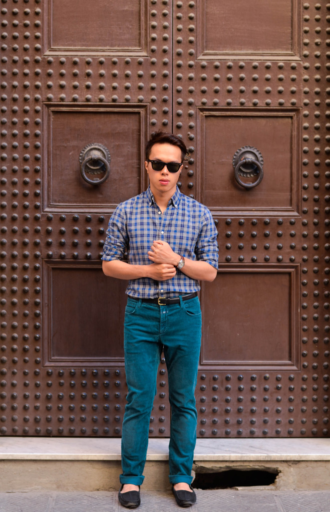 club monaco shirts, closed teal trousers, fendi shoes, florence, how men wear colorful pants, confused dasher
