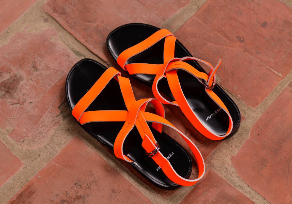 Neon Orange Leather EH60 Gladiator Sandals, the confused dasher