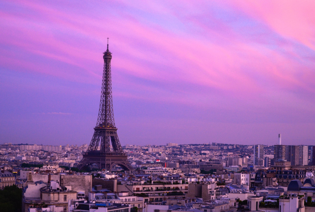 paris sunset seen from Arc de Triomphe, beautiful paris architecture